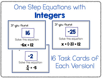 One Step Equations - Scavenger Hunt! (Three Versions Included!!)
