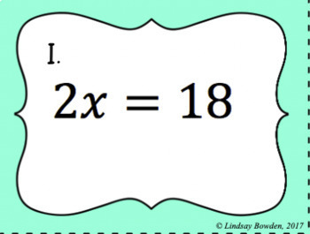 One Step Equation Task Cards