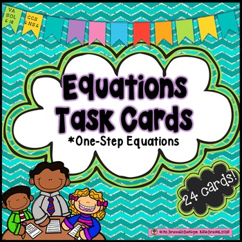 FREEBIE! One-Step Equation Task Cards-Algebra
