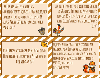 One-Step Equation Task Cards (Thanksgiving Theme)