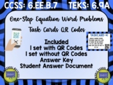 One-Step Equation Word Problems Task Cards QR Codes