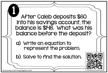 Writing Equations from Word Problems Task Cards (One-Step Equations)