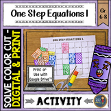 One Step Equations 1 Solve, Color, Cut