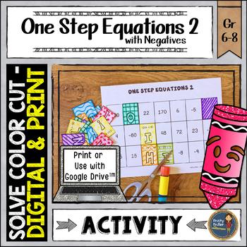 One Step Equations 2 Negatives Solve, Color, Cut