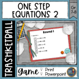 One Step Equations 2 with Integers Trashketball Math Game