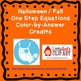 Halloween Fall One Step Equations (Negatives) Color by Num