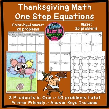 Thanksgiving Math One Step Equations Maze & Color by Number Coloring Page