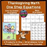 Thanksgiving Math Activity Solving Equations One Step Equa