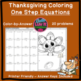Thanksgiving Solving Equations One Step Equations Color by Number Coloring Page