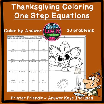 Thanksgiving Fall One Step Equations Color by Number Color