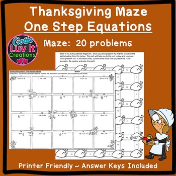 Thanksgiving Math Solving Equations One Step Equations Maze Tpt