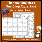 Thanksgiving Fall One Step Equations Maze