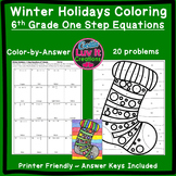 Christmas Activity: One Step Equations (No Negatives) Color by Number