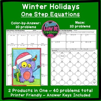Christmas Math One Step Equations Maze & Color by Number Christmas Activity