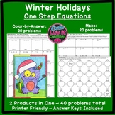 Christmas Math Winter Math Solving Equations One Step Equa