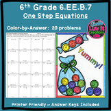Color by Number Solving Equations - One Step Equations Activity No Negatives