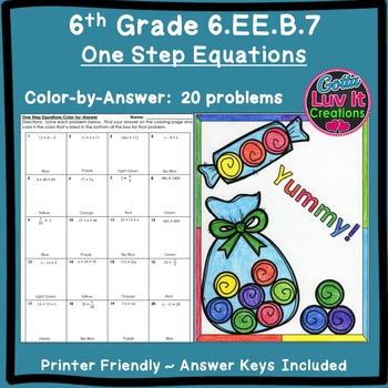 One Step Equations No Negatives Color by Number Coloring Page