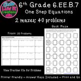 Solving Equations One Step Equations Activity No Negatives Maze