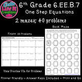 Equations One Step Equations Activity No Negatives Maze So