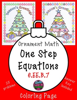 Christmas Math One Step Equations No Negatives Color by Number Surprise Activity