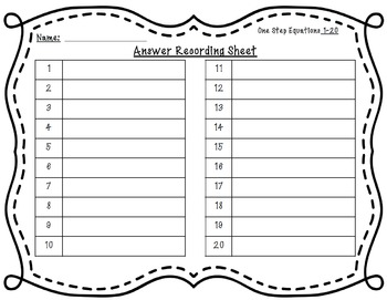 One Step Equations No Negatives 40 Task Cards