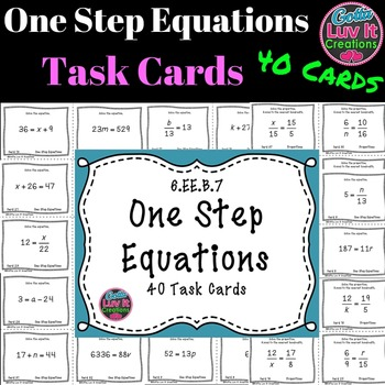 Solving Equations - One Step Equations Activity No Negatives 40 Task Cards