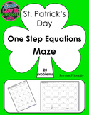St. Patrick's Day One Step Equations (With Negatives) Maze