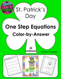 St. Patrick's Day One Step Equations With Negatives Color-