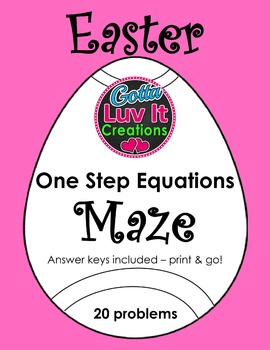 Easter Spring One Step Equations Maze