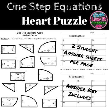 Equations One Step Equations Math Heart Puzzle Solving Equations
