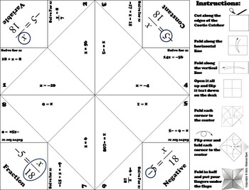 1 Step Equations Game/ Practice for 6th, 7th, 8th Grade