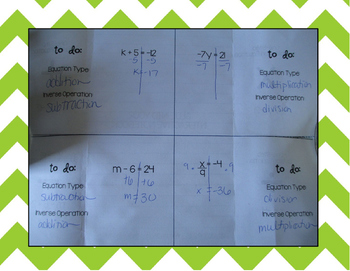 One Step Equations 4 Door Foldable