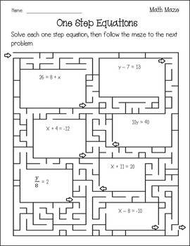 One Step Equations Worksheet {Maze} {Solving One Step Equations Activity}