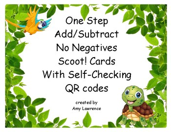 One Step Equations Add and  Subtract Scoot or Task Cards