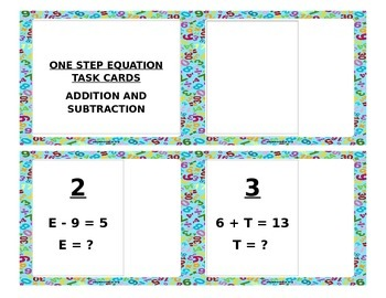 One Step Equations (Add and Subtract) Task Cards