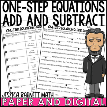 One Step Equations: Add and Subtract with Rational Numbers Mistory Lib Activity
