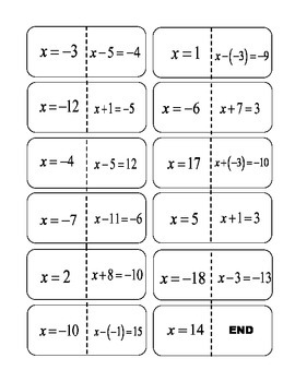 One Step Equations Add/Subtract Integer Solutions