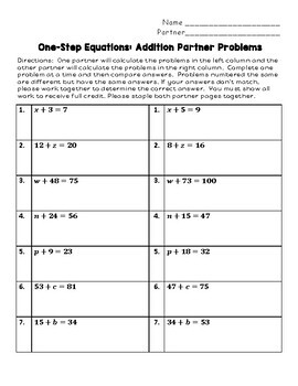 One Step Equations: Addition Partner Problems