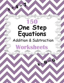 One Step Equations - Addition & Subtraction Worksheets