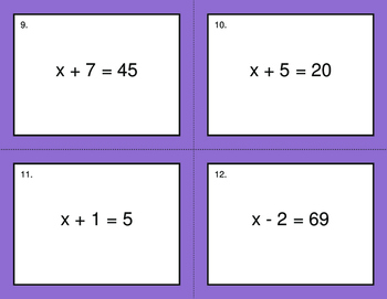 One Step Equations (Addition & Subtraction) - BINGO and Task Cards