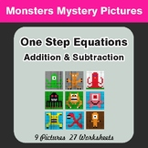 One-Step Equations (Addition & Subtraction) - Color-By-Number Mystery Pictures