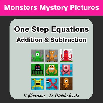 One-Step Equations (Addition & Subtraction) - Color-By-Number Math Mystery Pictures