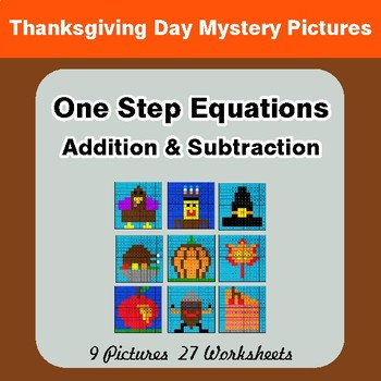 One-Step Equations: Addition & Subtraction - Color-By-Number Math Mystery Pictures