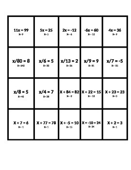 One Step Equations; Addition, Subtraction, Division, Multiplication
