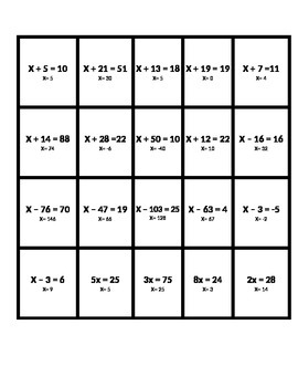 One Step Equations; Addition, Subtraction, Division, Multi