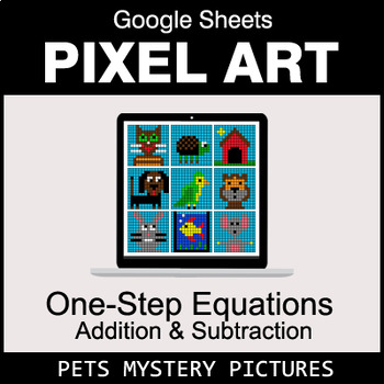 One-Step Equations - Addition & Subtraction - Google Sheets - Pets