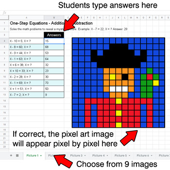 One-Step Equations - Addition & Subtraction - Google Sheets - Pirates