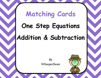 One Step Equations (Addition & Subtraction) - Matching Cards