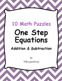 One Step Equations (Addition & Subtraction) - Math Puzzles