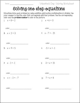Valentines Day One-Step Equations Activity {Add, Subtract, Multiply Divide}